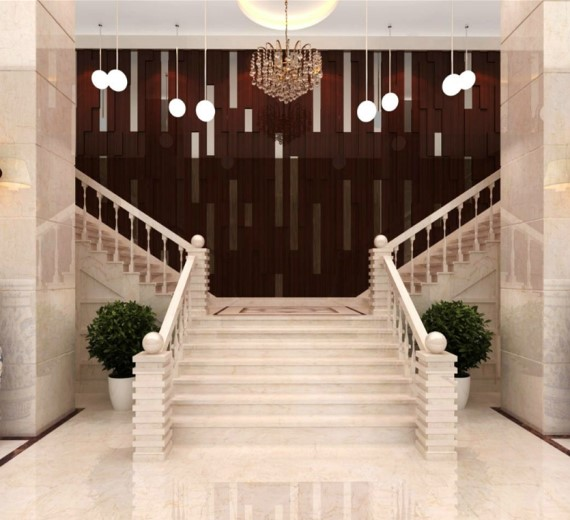 crema marfil marble floor and stairs